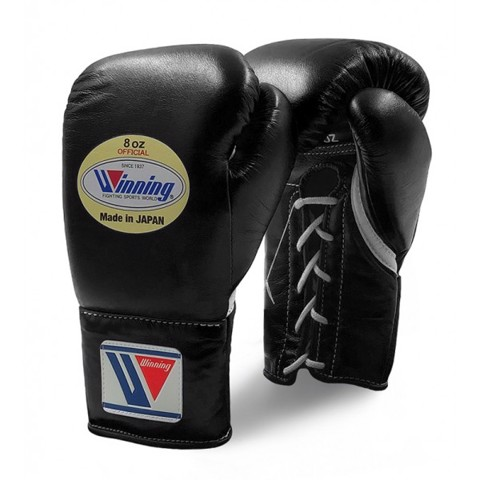 Găng Tay Boxing Winning Pro Fight Laces Gloves - Black