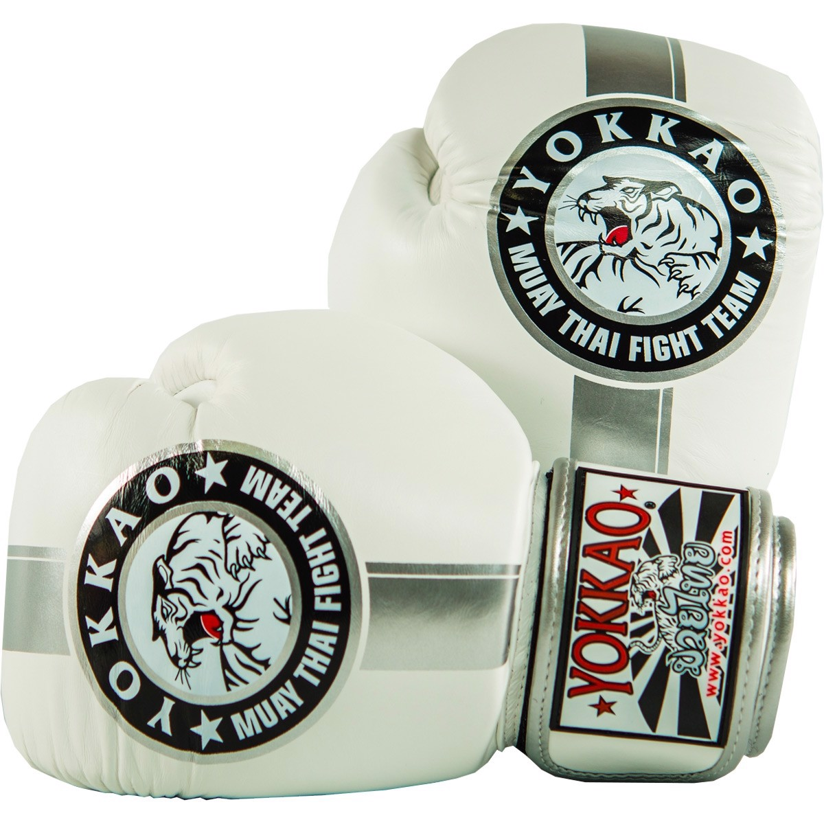 GĂNG TAY YOKKAO FYGL-23 OFFICIAL FIGHT TEAM SILVER/WHITE MUAY THAI & BOXING GLOVES