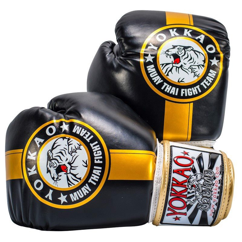 GĂNG TAY YOKKAO FYGL-23 OFFICIAL FIGHT TEAM GOLD/BLACK MUAY THAI & BOXING GLOVES