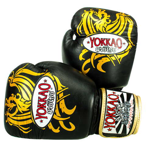 GĂNG TAY YOKKAO PHOENIX MUAY THAI & BOXING GLOVES - BLACK/GOLD