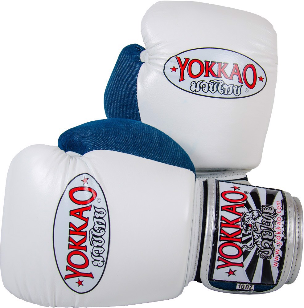 GĂNG TAY YOKKAO FYGL-21 DENIM MUAY THAI & BOXING GLOVES - WHITE