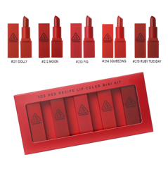 GiftSet Son 3CE Red Recipe Lip Color Mini Kit