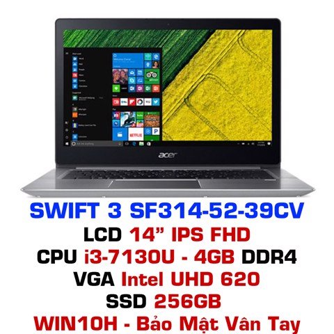 Laptop Acer Swift 3 SF314-52-39CV NX.GNUSV.007 - Xám bạc