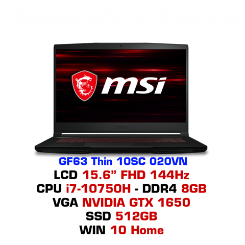 Laptop Gaming MSI GF63 Thin 10SC 020VN