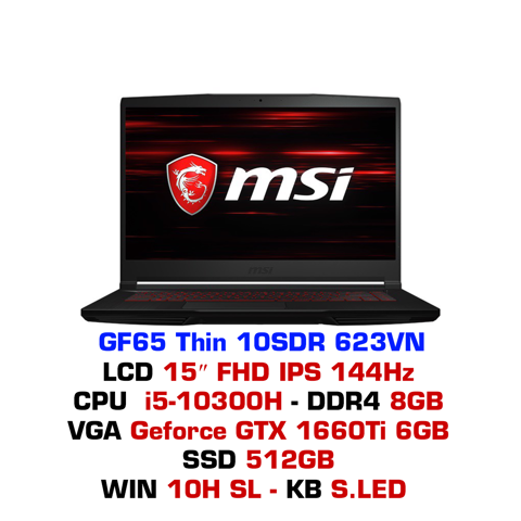 Laptop Gaming MSI GF65 Thin 10SDR 623VN