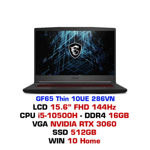 Laptop Gaming MSI GF65 Thin 10UE 286VN