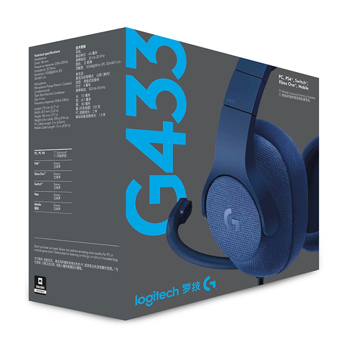 Tai nghe Logitech G433 Blue