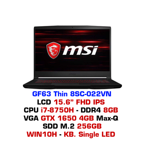 Laptop Gaming MSI GF63 Thin 8SC-022VN