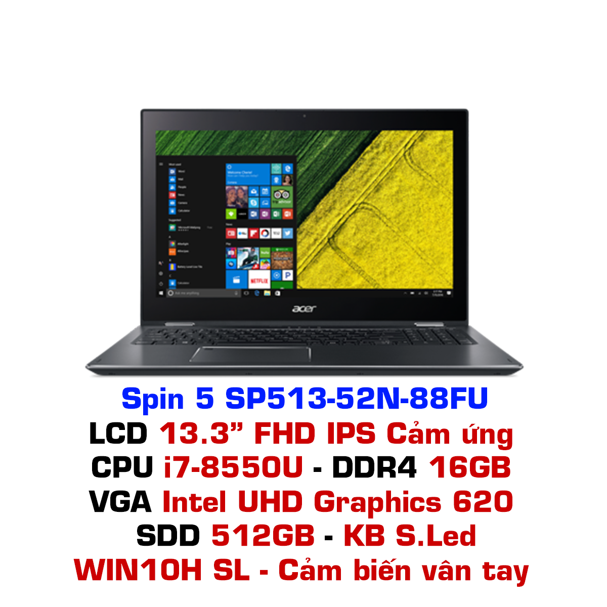 Laptop Acer Spin 5 SP513-52N-88FU Xám