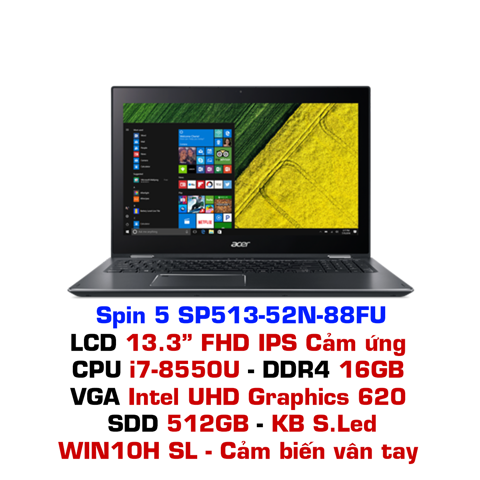Laptop Acer Spin 5 SP513-52N 88FU Xám