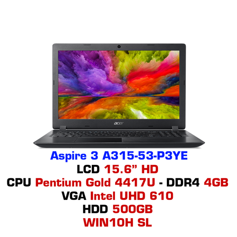 Laptop Acer Aspire 3 A315-53-P3YE Black