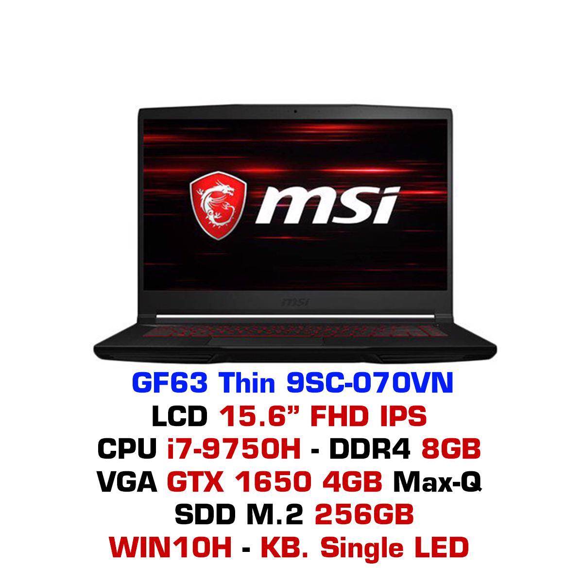 Laptop Gaming MSI GF63 Thin 9SC-070VN