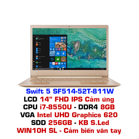 Laptop Acer Swift 5 Air Edition SF514-52T 811W - Vàng đồng