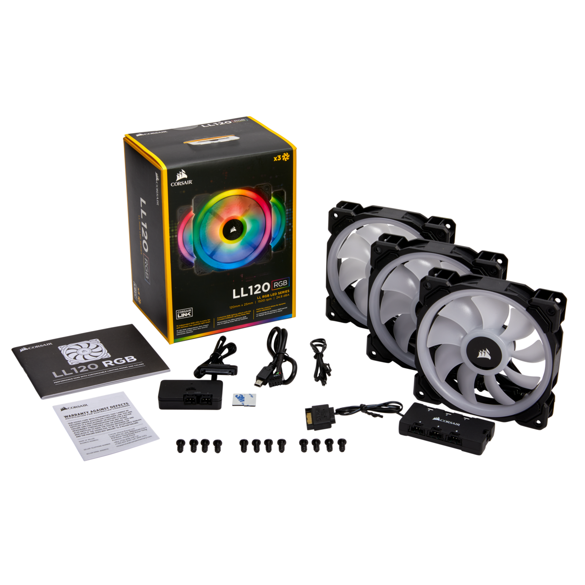 Corsair LL120 RGB 120mm RGB LED — 3 Fan Pack with Lighting Node PRO