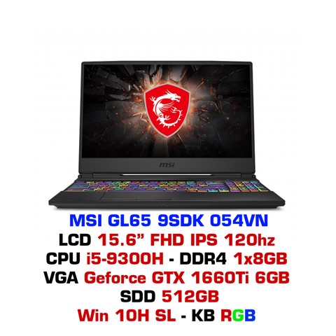 Laptop Gaming MSI GL65 9SDK 054VN
