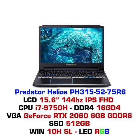 Laptop Gaming ACER Predator Helios PH315 52 75R6