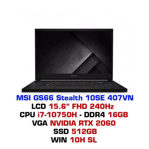 Laptop Gaming MSI GS66 Stealth 10SE 407VN