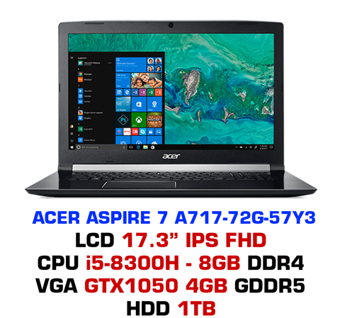 Laptop Gaming Acer Aspire 7 A717-72G-57Y3