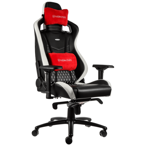 Ghế Gaming Noble Chair - Epic Series Black/Red/White (Real Leather)