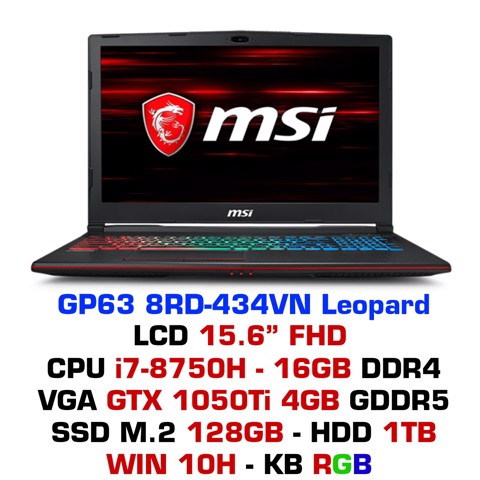 Laptop Gaming MSI GP63 8RD-434VN Leopard