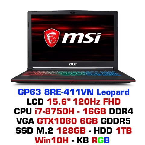 Laptop Gaming MSI GP63 8RE-411VN Leopard