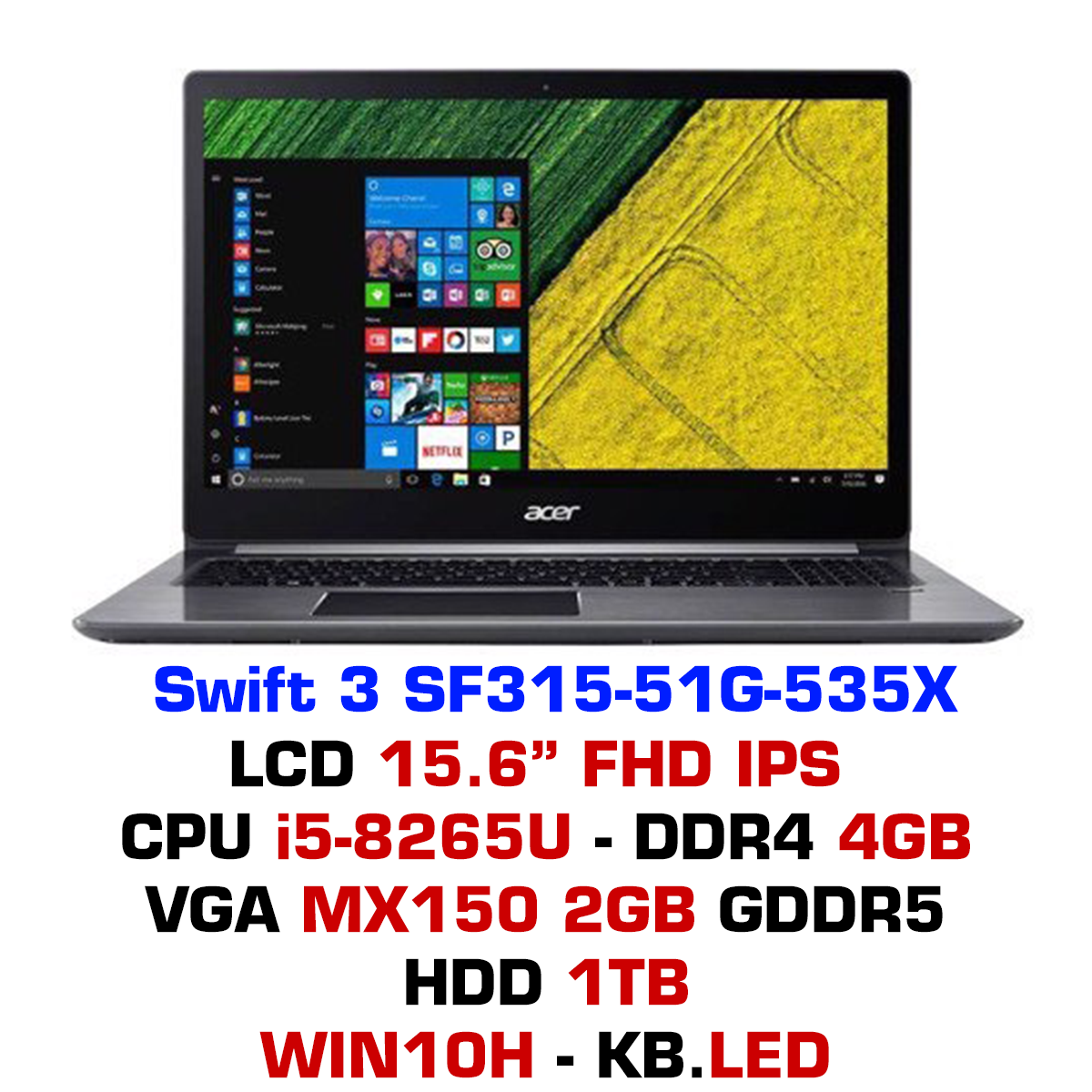 Laptop Acer Swift 3 SF315-51G-535X - Xám