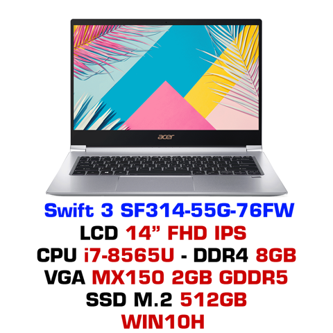 Laptop Acer Swift 3 SF314-55G 76FW - Bạc