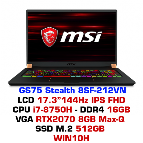Laptop Gaming MSI GS75 Stealth 8SF-212VN