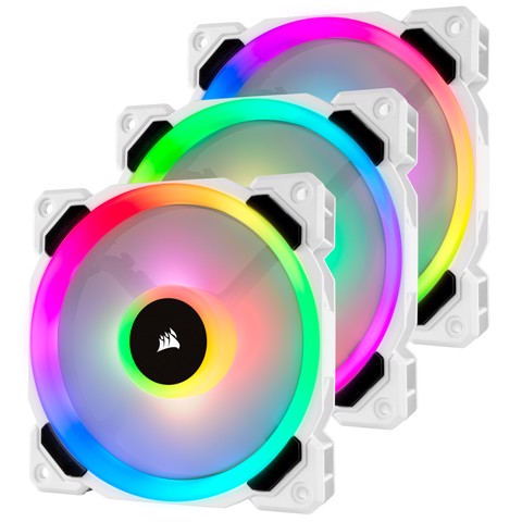 Corsair LL120 White RGB 120mm RGB LED — 3 Fan Pack with Lighting Node PRO