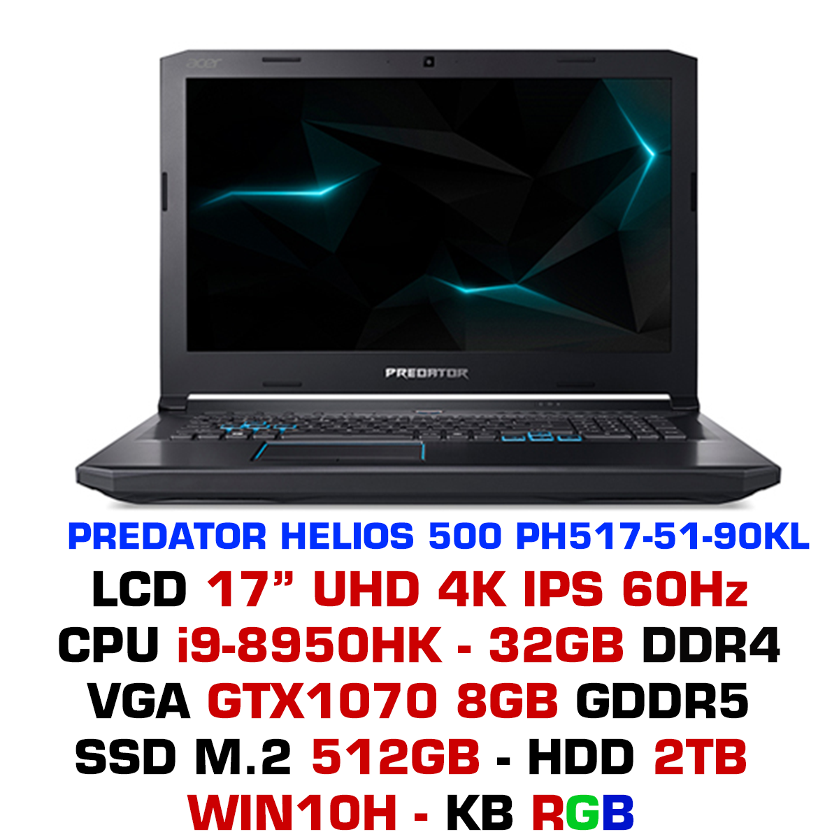 Laptop Gaming Acer Predator Helios 500 PH517-51-90KL NH.Q3PSV.002