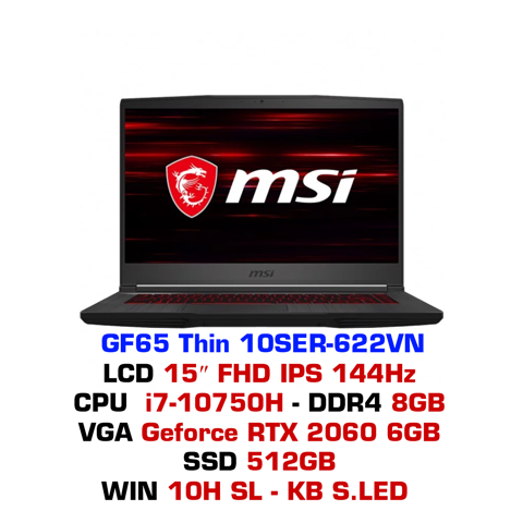 Laptop Gaming MSI GF65 Thin 10SER 622VN