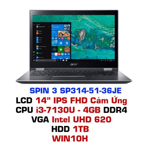 Laptop Acer Spin 3 SP314-51-36JE - Xám