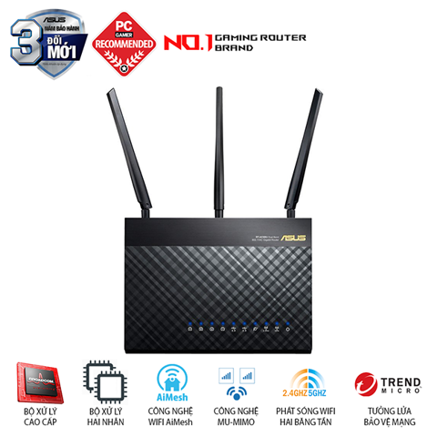 ASUS RT AC68U Chuẩn AC1900 Dual Band Facebook Wifi