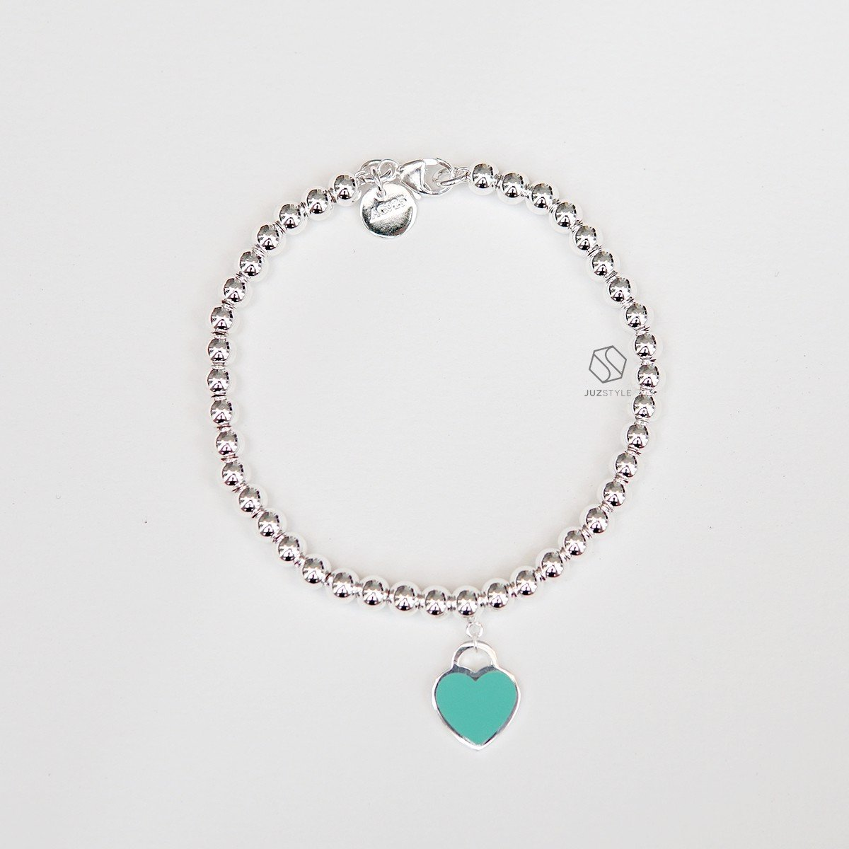 Lắc tay bạc Ball chain with heart