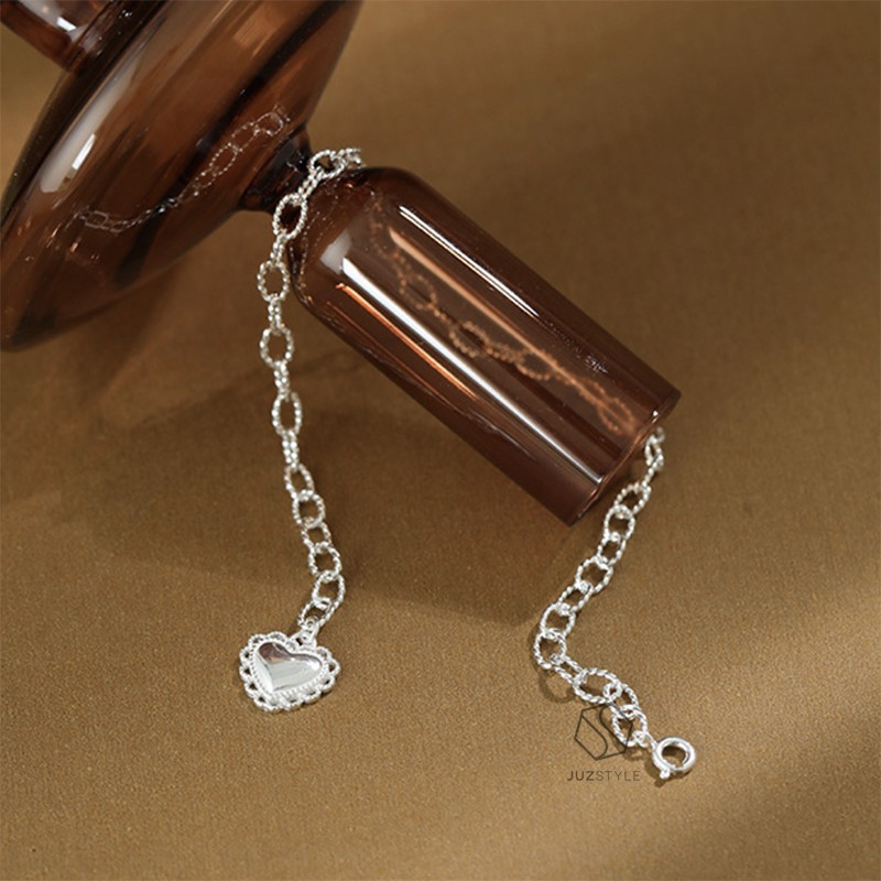 Lắc chân bạc Oval chain with heart tag
