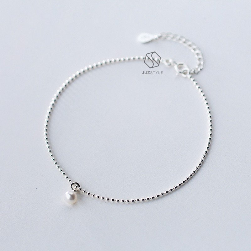 Lắc chân bạc Tiny ball chain with pearl