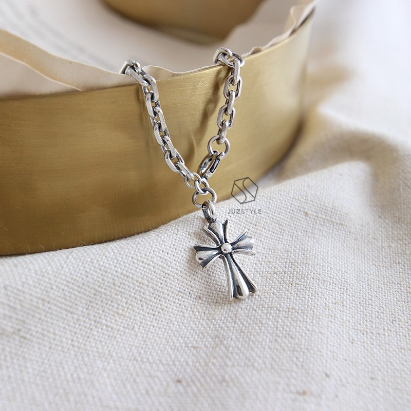 Lắc tay bạc Vintage chain with Cross