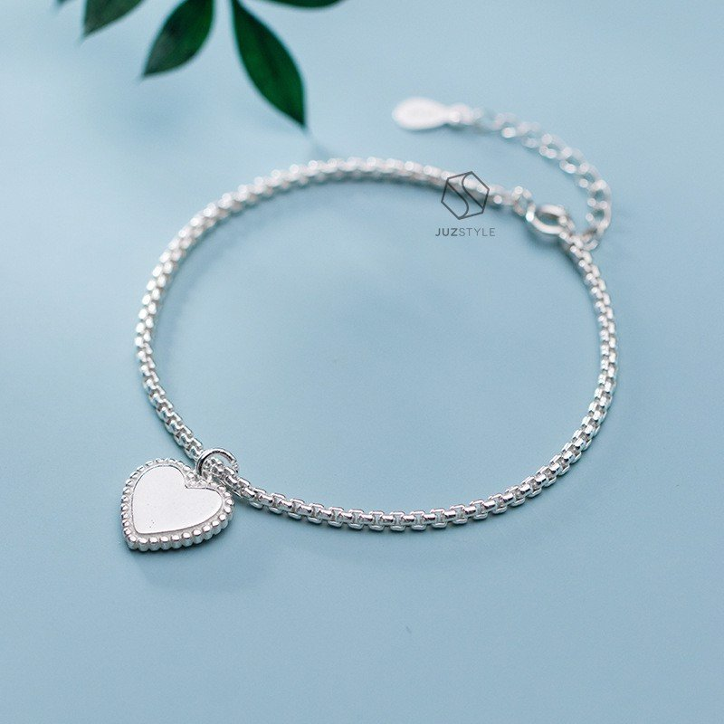 Lắc tay bạc Heart tag with box chain