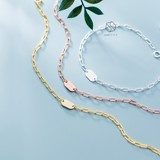 Lắc tay bạc Rectangle chain with pearl