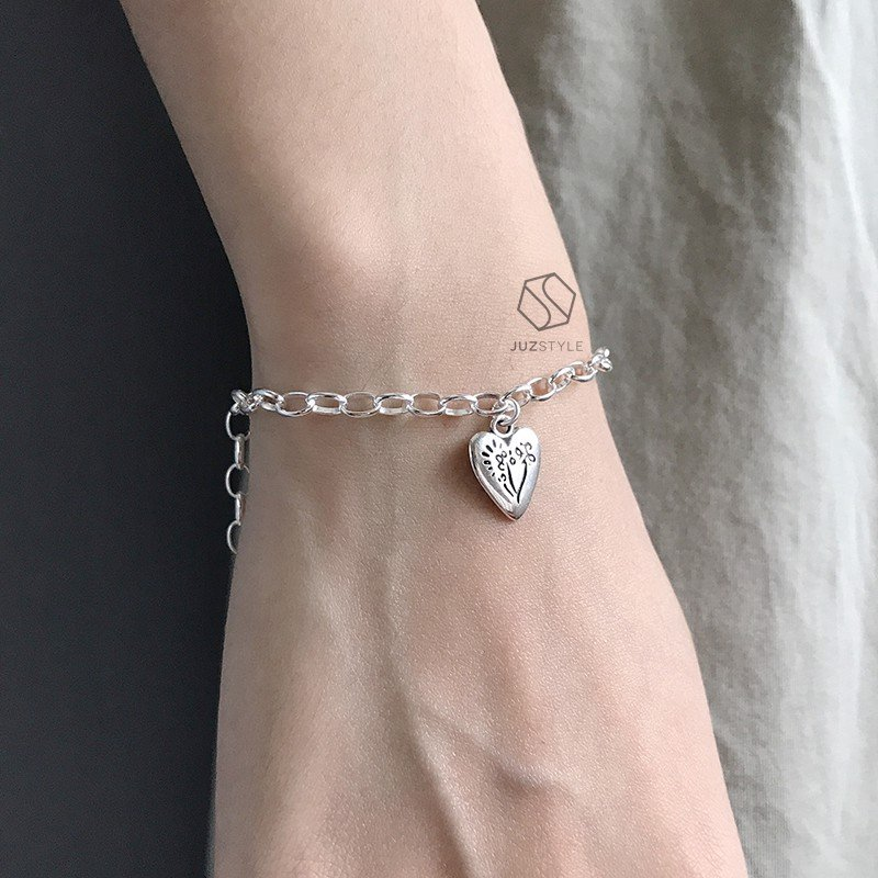 Lắc tay bạc Oval chain with heart charm