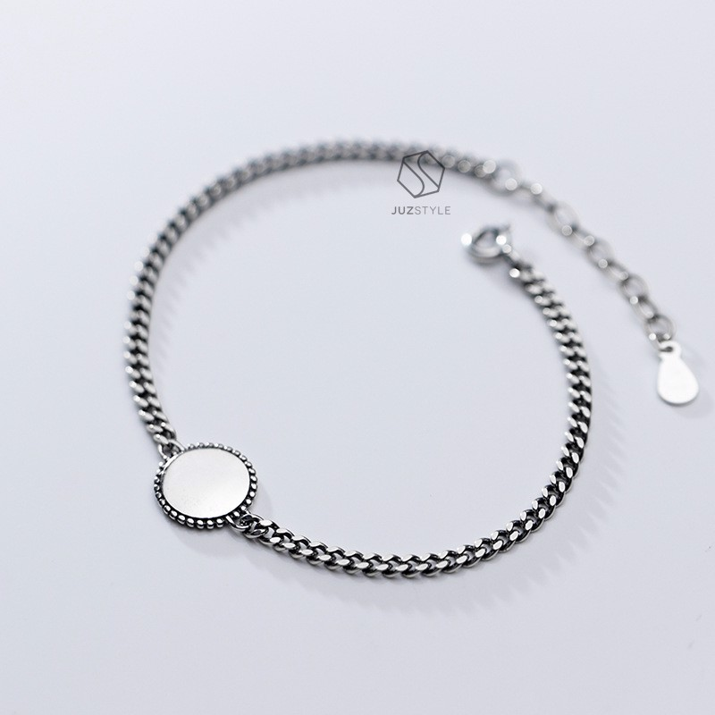 Lắc tay bạc Vintage chain with circle tag