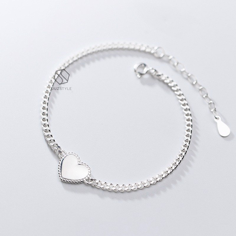 Lắc tay bạc Vintage chain with heart tag
