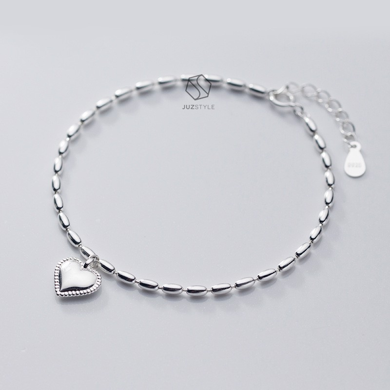 Lắc tay bạc Oval ball chain with heart tag