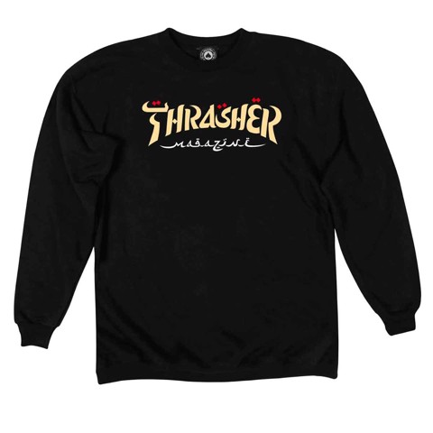 THRASHER CALIGRAPHY CREWNECK SWEATSHIRT BLACK