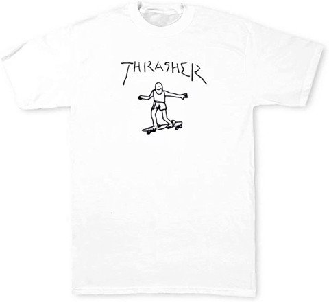 THRASHER GONZ T-SHIRT BY MARK GONZALES WHITE