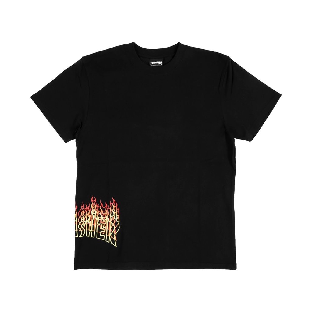 THRASHER SIDE FLAME OVERLAY T-SHIRT BLACK