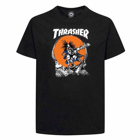 THRASHER SKATE OUTLAW T-SHIRT BY PUSHEAD BLACK