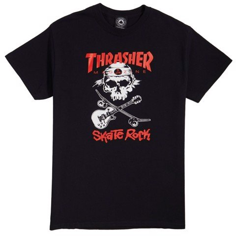 THRASHER SKATE ROCK SKULL T-SHIRT BLACK
