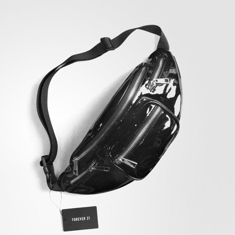 Faux Patent Leather Fanny Bag Black