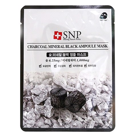 mat na duong tinh chat than hoat tinh snp charcoal mineral black ampoule mask